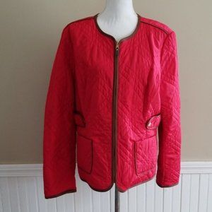 Charter Club Women Red Brown Quilted Jacket XL